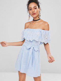 Striped Off Shoulder Eyelet Romper - Light Blue L