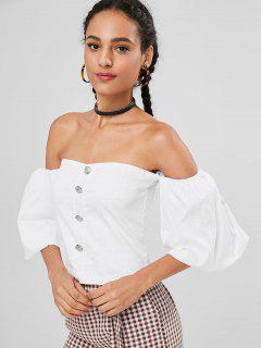 Smocked Balloon Sleeve Off The Shoulder Top - White