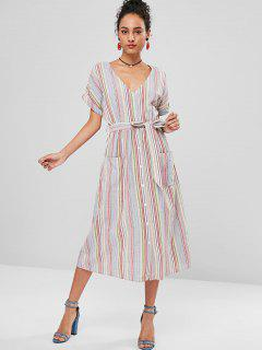 Belted Button Up Striped Dress - Multi L
