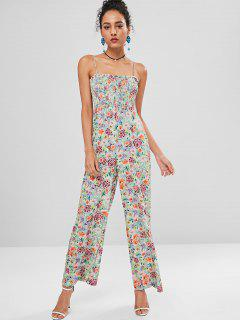 Cami Floral Smocked Palazzo Overall - Multi L