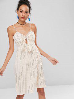 Striped Knot Cami A Line Dress - Apricot M