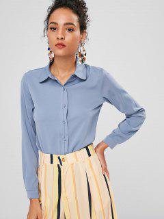 Button Up Plain Shirt - Blue Gray M