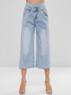 Frayed Hem Capri Jeans - Denim Blue Xl