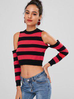 Stripes Cold Shoulder Sweater - Red S