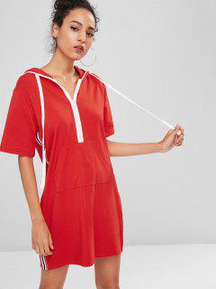 Half Zip Stripes Panel Sweatshirt Dress - Fire Engine Red S