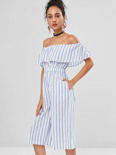 Off The Shoulder Striped Culotte Jumpsuit - Multi M