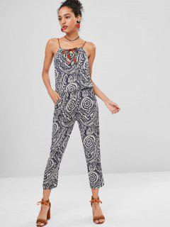Gathered Tie Front Floral Sleeveless Jumpsuit - Multi M