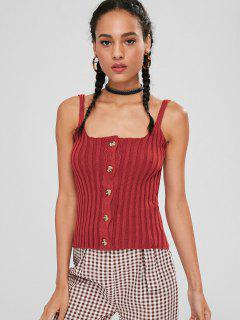 Ribbed Knit Button Up Tank Top - Red Wine L