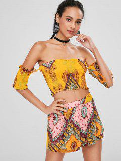 Smocked Off The Shoulder Shorts Set - School Bus Yellow S