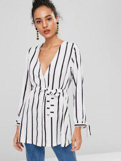Striped Long Sleeve V Neck Shirt Dress - White M