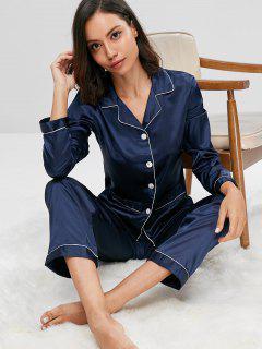 Satin Sleep Shirt And Pants Set - Midnight Blue L