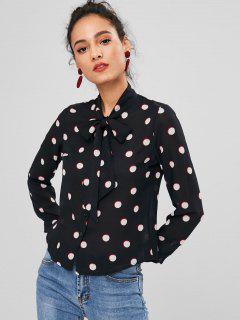 Pussy Bow Polka Dot Chiffon Shirt - Black L