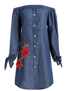 Plus Size Floral Applique Chambray Vestido De Hombro - Azul Denim 2xl