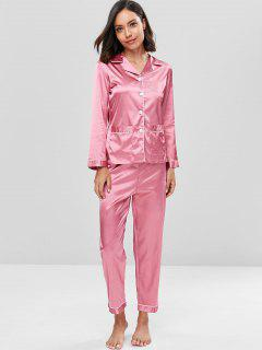 Ensemble Chemisier Et Pantalon De Nuit En Satin  - Rouge Blush 2xl