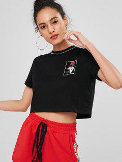 Rose Print Graphic Boxy Cropped Tee - Black S