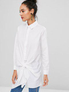 Long Sleev Tie Front Longline Shirt - White S