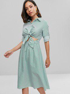 Buttoned Knotted Striped Dress - Medium Sea Green M