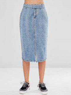 Slit Belted Denim Skirt - Jeans Blue L