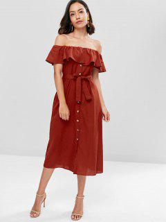 Off The Shoulder Ruffle Midi Dress - Red Wine L