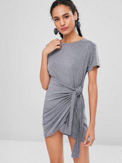Godet Overlay Tie Front T-Shirt Dress - Gray