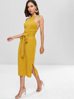 Slit Cut Out Midi Dress - Golden Brown L