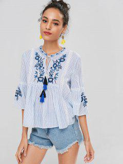 Striped Flare Sleeve Embroidered Blouse - Light Blue S