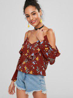Floral Ruffles Cold Shoulder Top - Chocolate S