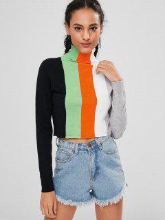 Rollkragen Streifen Pullover - Multi L