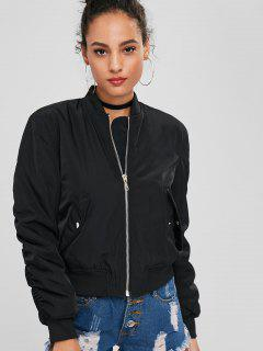 Zip Up Bomber Quilted Jacket - Black L
