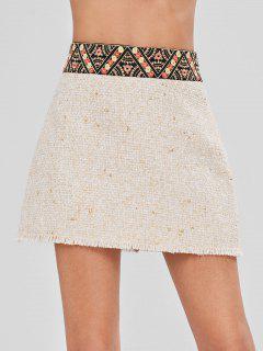 Ethnic Raw Hem Tweed Skirt - Warm White L