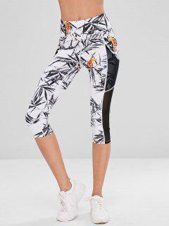 Bamboo Tiger Mesh Insert Sports Leggings - White L