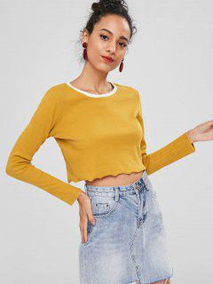 Long Sleeve Contrast Neck Cropped Tee - Mustard M