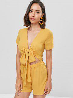 Tie Front Low Cut Romper - Mustard Xl