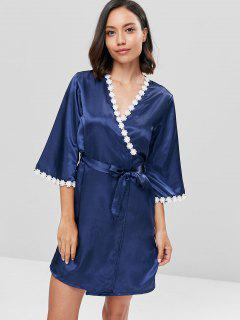 Contrast Lace Satin Chemise And Sleeping Robe Set - Navy Blue M