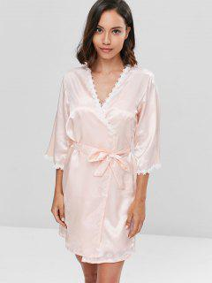 Contrast Lace Satin Chemise And Sleeping Robe Set - Apricot L