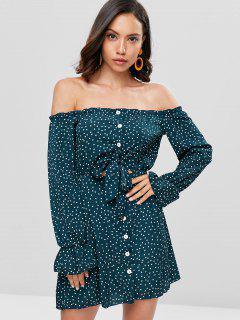 Polka Dot Off Shoulder Mini Dress - Medium Sea Green L