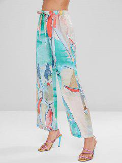 Abstract Print Silky Wide Leg Palazzo Pants - Multi L