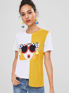 Schönheits Grafik Farbblock Gespleißtes T-Shirt - Multi M