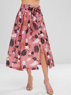 Button Up Tied Print Long Skirt - Pink Bow L
