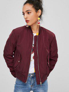 Zip Up Bomber Quilted Jacket - Red Wine M