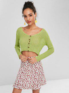 Button Up Cropped Cardigan - Alien Green