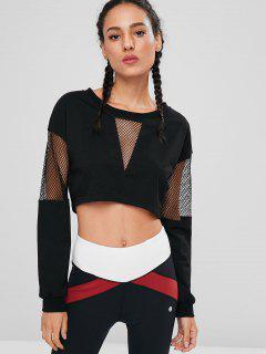 Fishnet Drop Shoulder Sweatshirt - Black M
