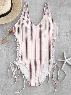 Striped Lace Up Backless Swimsuit - White L