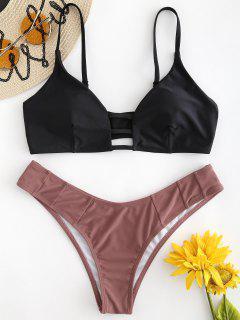 Gitter-Bralette-Bikini-Set - Schwarz M