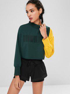 ZAFUL Embroidered Two Tone Sweatshirt - Deep Green L