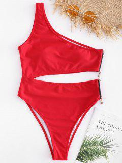 One Shoulder Zipper Swimsuit - Love Red M