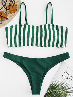 Gestreiftes Cami-Bikini-Set - Dunkelgrün S