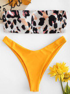 Leopard Bandeau Padded Bikini Set - Multi-a L
