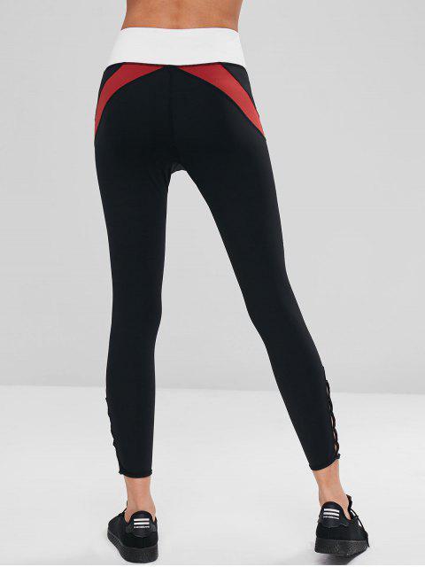 Color Block Criss Cross Leggings deportivos - Negro L Mobile