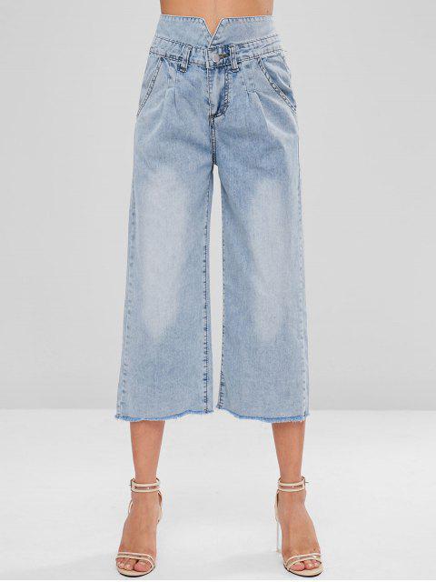 Ausgefranster Saum Capri Jeans - Denim Blau L Mobile